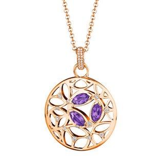 Di Modolo 18k Rose Goldplated Sterling Silver 1/4ct TDW Diamond and Amethyst Necklace (H-I, I1-I2)