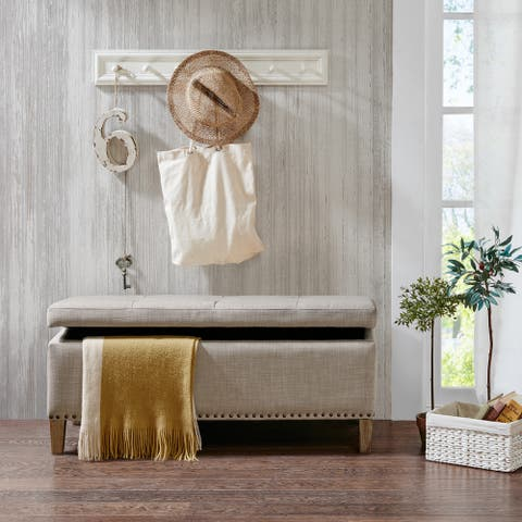 Madison Park Tessa Taupe Tufted Top Storage Bench