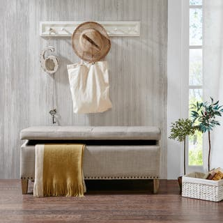 """Madison Park Tessa Taupe Tufted Top Storage Bench - 42""""W x 18""""D x18""""D"""