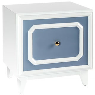 'Pattison' White and Grey/Blue Nightstand