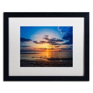 PIPA Fine Art 'Sunset Breakwater Lighthouse' Matted Framed Art