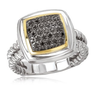 Avanti Sterling Silver and 18K Yellow Gold 1/6 CT TDW Black Diamond Pave Set Square Ring
