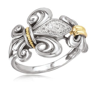 Avanti Sterling Silver and 18K Yellow Gold 1/10 CT TDW Diamond Pave Fleur-De-Lis Design Ring