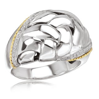 Avanti Sterling Silver and 18K Yellow Gold 1/8 CT TDW Diamond Voven Design Ring (G-H, SI2-SI3)