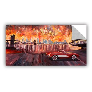 ArtAppealz Marcus/Martina Bleichner's 'New York City-Two Bridges with a Corvette' Removable Wall Art Mural