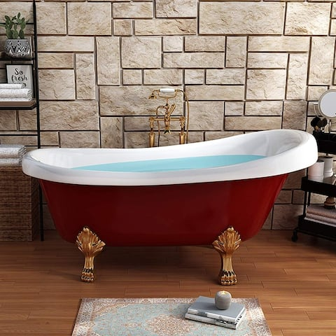 Vanity Art 67 Inch Freestanding Red Acrylic Bathtub Modern Stand Alone Soaking Tub with Polished Chrome & Pop-up Drain