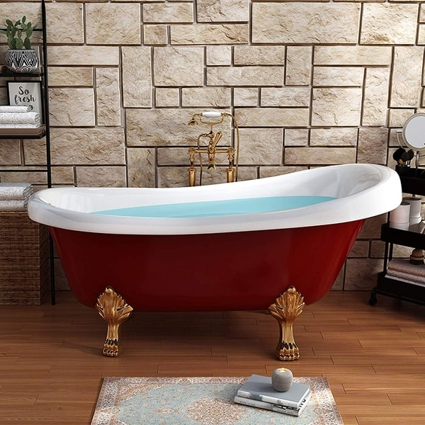Vanity Art 67 Inch Freestanding Red Acrylic Bathtub Modern Stand Alone Soaking Tub with Polished Chrome & Pop-up Drain. Opens flyout.
