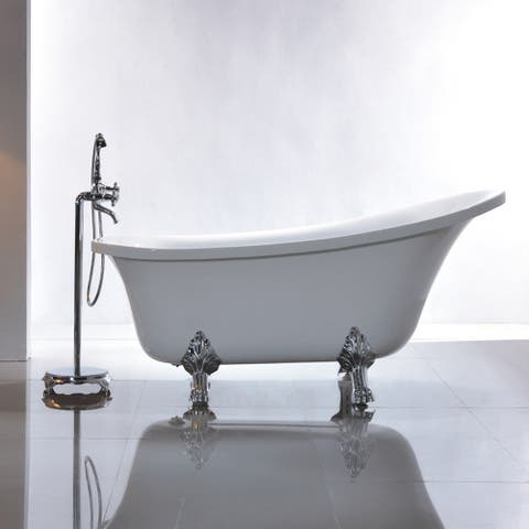 "Vanity Art 69"" Freestanding White Acrylic Bathtub Modern Stand Alone Soaking Tub with Polished Chrome & Pop-up Drain"