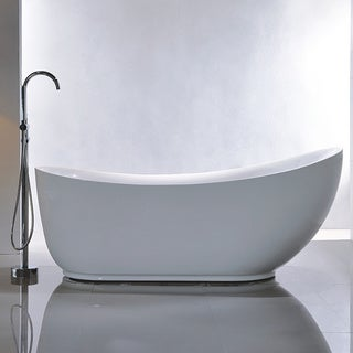 Vanity Art Freestanding White Acrylic 71 Inch Soaking Bathtub