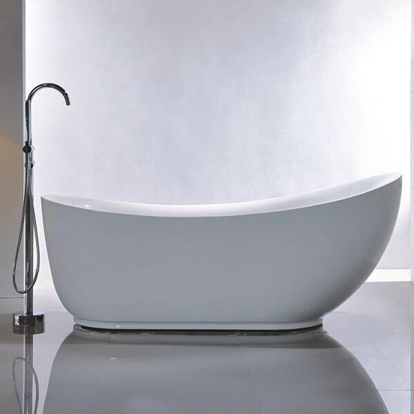 Shop Vanity Art Freestanding White Acrylic 71-Inch Soaking Bathtub ...