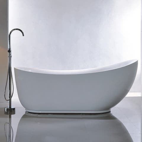 Vanity Art 71-inch Freestanding Acrylic Bathtub Stand Alone Soaking Tub with Polished Chrome Round Overflow & Pop-up Drain