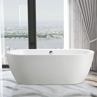 "Vanity Art 68.1"" Freestanding Acrylic Bathtub Modern Stand Alone Soaking Tub with Chrome Finish  Easy to Install & Pop-up Drain"