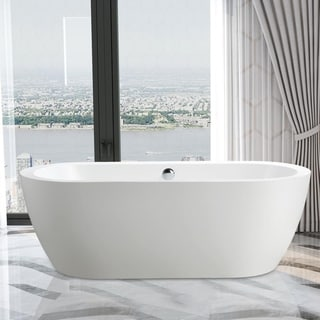 """Vanity Art 68.1"""" Freestanding Acrylic Bathtub Modern Stand Alone Soaking Tub with Chrome Finish  Easy to Install & Pop-up Drain"""