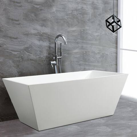 Vanity Art 67 inch Freestanding Acrylic Bathtub Stand Alone Soaking Tub with Chrome Finish Round Overflow & Pop-up Drain