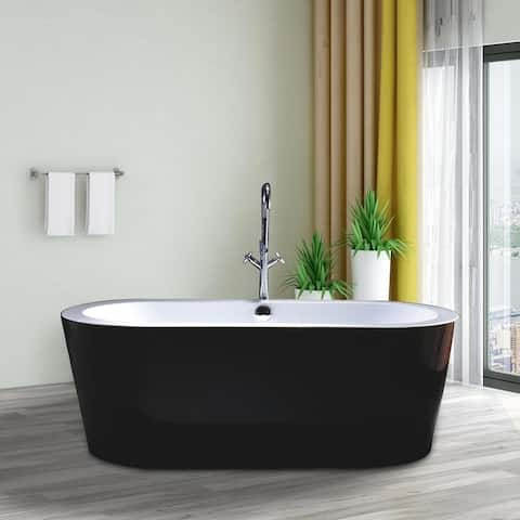 "Vanity Art 67.7"" Freestanding Black Acrylic Bathtub Stand Alone Soaking Tub with Polished Chrome Round Overflow & Pop-up Drain"