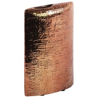 Urban Trends Collection Rose Gold Electroplated Finish Ceramic Criss-cross Design Rectangular Vase