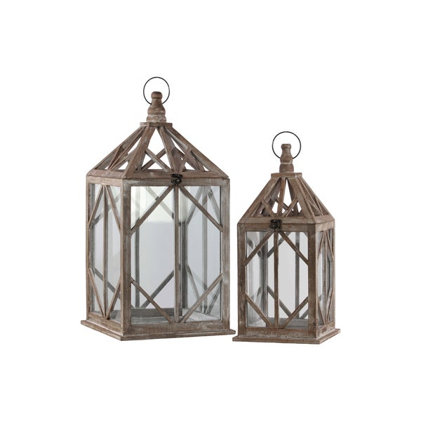 Urban Trends Collection Brown Wood Lantern with Ring Hanger and Diamond Design (Set of 2)