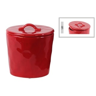 Urban Trends Collection Glossy Red Ceramic Small Round Canister With Handle