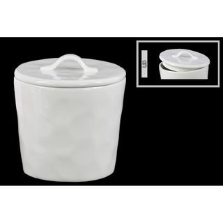 Urban Trends Gloss Finish White Ceramic Round Canister With Lid and Handle