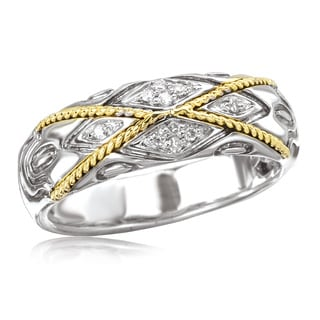 Avanti Sterling Silver and 18K Yellow Gold X Shape Rope Design with Diamond Accent Ring