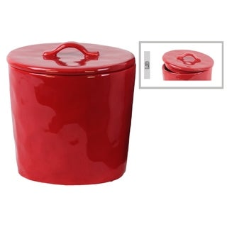 Urban Trends Collection Red Ceramic Gloss Finish Round Canister with Handle on Lid
