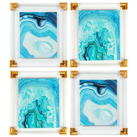 Aquamarine Agate Wall Art (Set of 4)