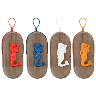 Urban Trends Collection Mermaid Wood Metal Oval Wall Hook (Set of 4)