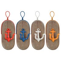 Urban Trends Collection Metal Coated Finish Oval Wall Hook with 1 Hanger, Wood Board and 1 Anchor Design Hook
