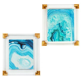 Aquamarine, Turquoise, and Teal Agate Acrylic Resin Wall Art (Set of 2)