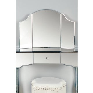 'Sima' White Wooden Vanity with Foldable Mirror