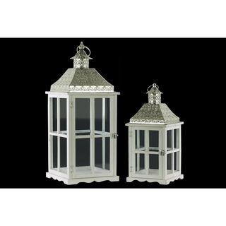 Urban Trend Collection White Wood Metal Square Candle Lantern (Set of 2)