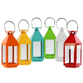 Gloss Finish Assorted Color Metal Square Lantern with Stainless Steel Handle and Glass Windows (Pack of 6)