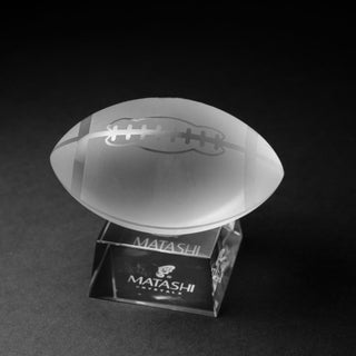 Matashi Crystal Etched Sports Ball Ornament and Trapezoid Base Paperweight (5 options available)