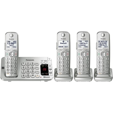 Panasonic KX-TGE474S Link2Cell Bluetooth Cordless Phone Ans Machine- 4 Handsets SIlver
