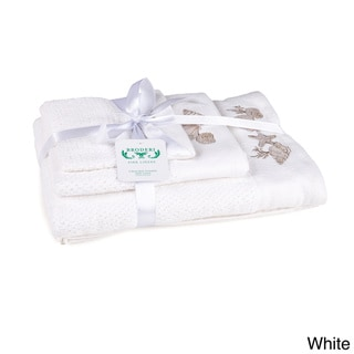 Embroidered Shell Pattern 3-Piece Towel Set