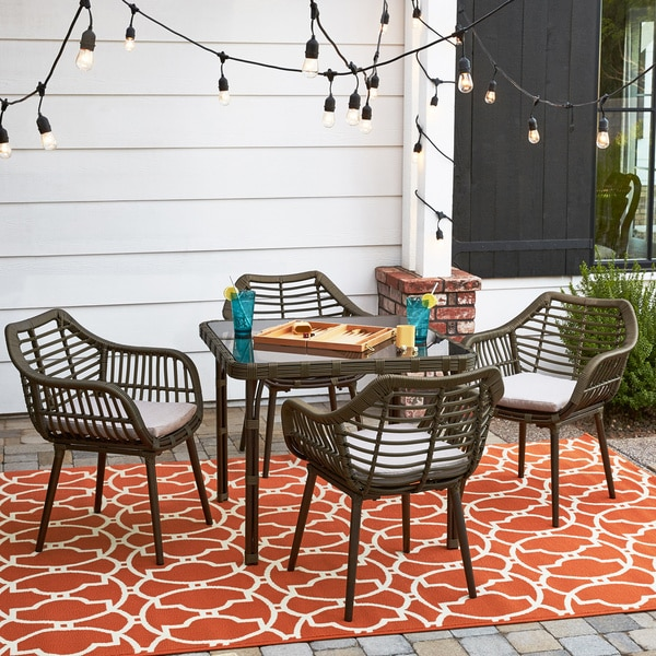 Mid Century 5 Piece Outdoor Dining Set