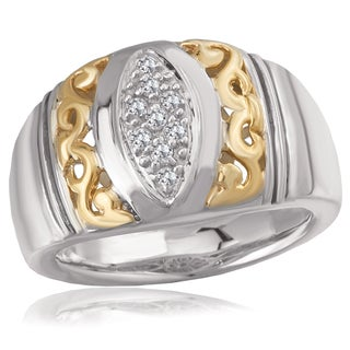 Avanti Sterling Silver and 14K Yellow Gold 1/8 CT TDW Diamond Scroll Design Wide Band Ring (G-H, SI2-SI3)