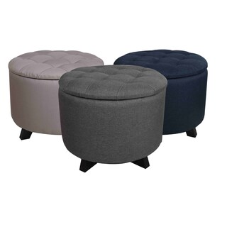 Cecillia Poly Synthetic FIber Circle Storage Ottoman