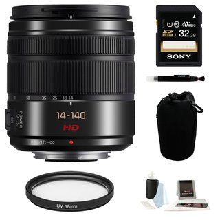 Panasonic Lumix G Vario 14-140mm f/3.5-5.6 ASPH. POWER O.I.S. Lens (Black) with 32GB Accessory Bundle