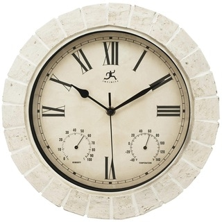12-inch Round Indoor/ Outdoor Off-white Mayan Clock