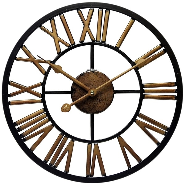 Micro Fusion Metal Roman Numeral Open Face 13.75 inch Wall Clock by Infinity Instruments. Opens flyout.