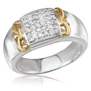 Avanti Sterling Silver and 14K Yellow Gold 2/5 CT TDW Diamond Pave Fashion Statement Ring (G-H, SI2-SI3)