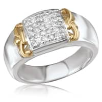 Avanti Sterling Silver and 14K Yellow Gold 2/5 CT TDW Diamond Pave Fashion Statement Ring