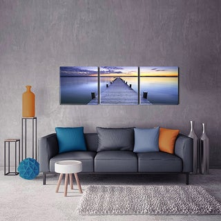 Furinno SENIC Pier Sunrise 3-Panel Acrylic Photography, 60 x 20-in
