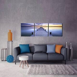 Furinno SENIC Pier Sunrise 3-Panel Acrylic Photography, 60 x 20-in