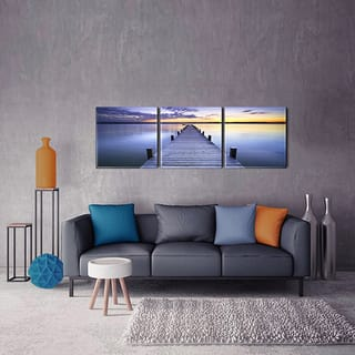 Furinno SENIC Pier Sunrise 3-Panel Acrylic Photography, 60 x 20-in|https://ak1.ostkcdn.com/images/products/13548258/P20227078.jpg?impolicy=medium