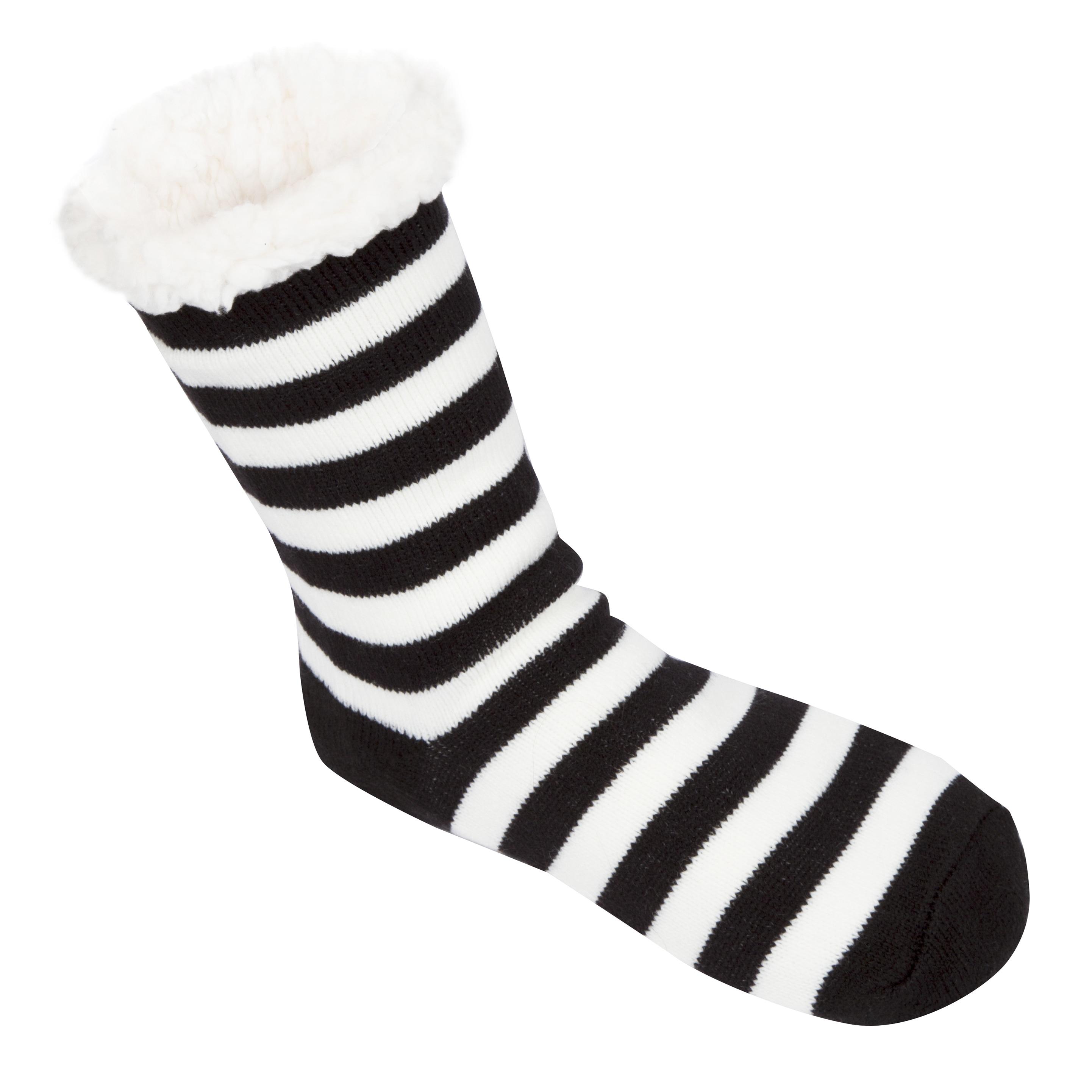 Leisureland Women's Stripe Slipper Socks (Stripe Black), ...