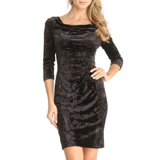Tahari Michelle Black Crushed-velvet Dress