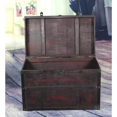 Antique Style Wooden Steamer Trunk