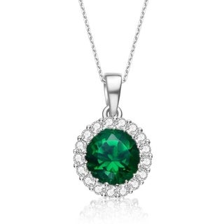 Collette Z C.Z. Sterling Silver Emerald Round Pendant